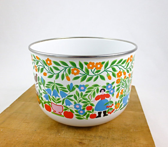 Kobe Kitchen Enamel Bowl, Nyssaink shop,  Etsy