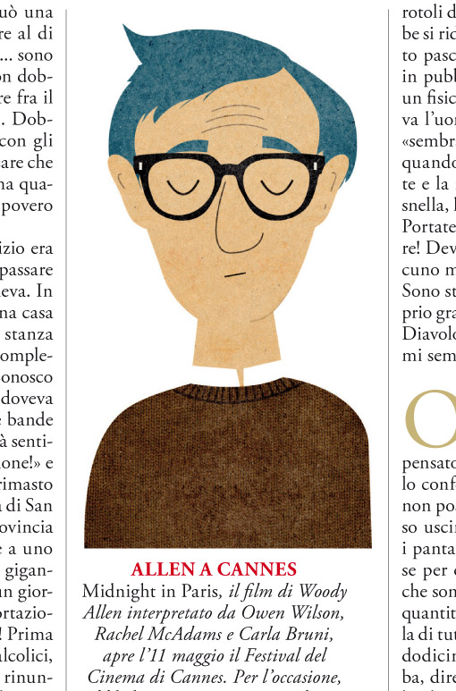 GQ mag illustrations for Woody Allens story