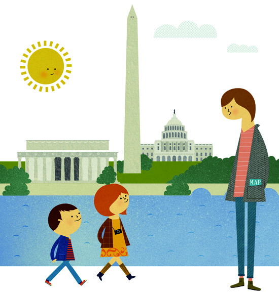 Washington City illustration for Disney magazine